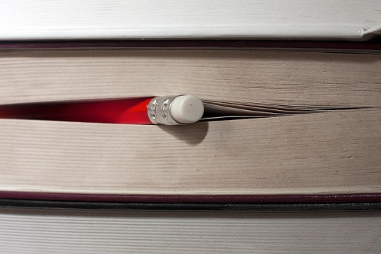 pencil in a book
