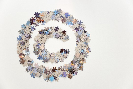 copyright sign made of jigsaw puzzle pieces