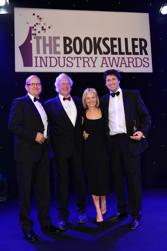 Tim Williams, Managing Director of Edward Elgar Publishing Mariella Frostrup, host of the awards evening Edward Elgar, Chairman, Edward Elgar Publishing Jason Cherrington, Commercial Director at Bertrams, the sponsor, presenting the award.