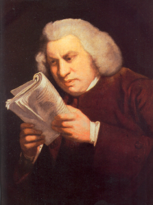 """Samuel Johnson by Joshua Reynolds 2"" by Joshua Reynolds - Originally in English Wikipedia, uploaded 21:07, 2005 June 14 by w:User:GeogreScanned from: Rogers, Pat (2001). The Oxford Illustrated History of English"