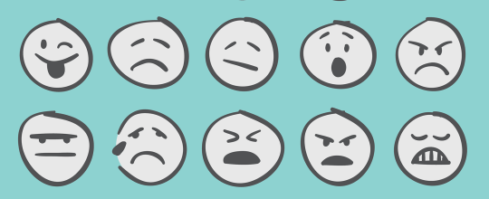 Abstract image emojis mixed emotions