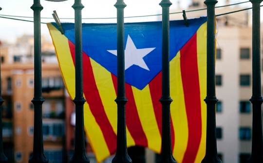 Estelada. Independentist flag of Catalonia. Bandera independentismo Catalan